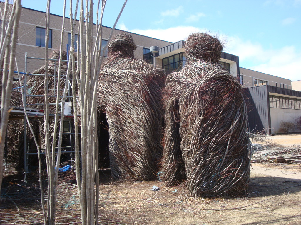 Work in progress on the Patrick Dougherty installation at Stevens Point.