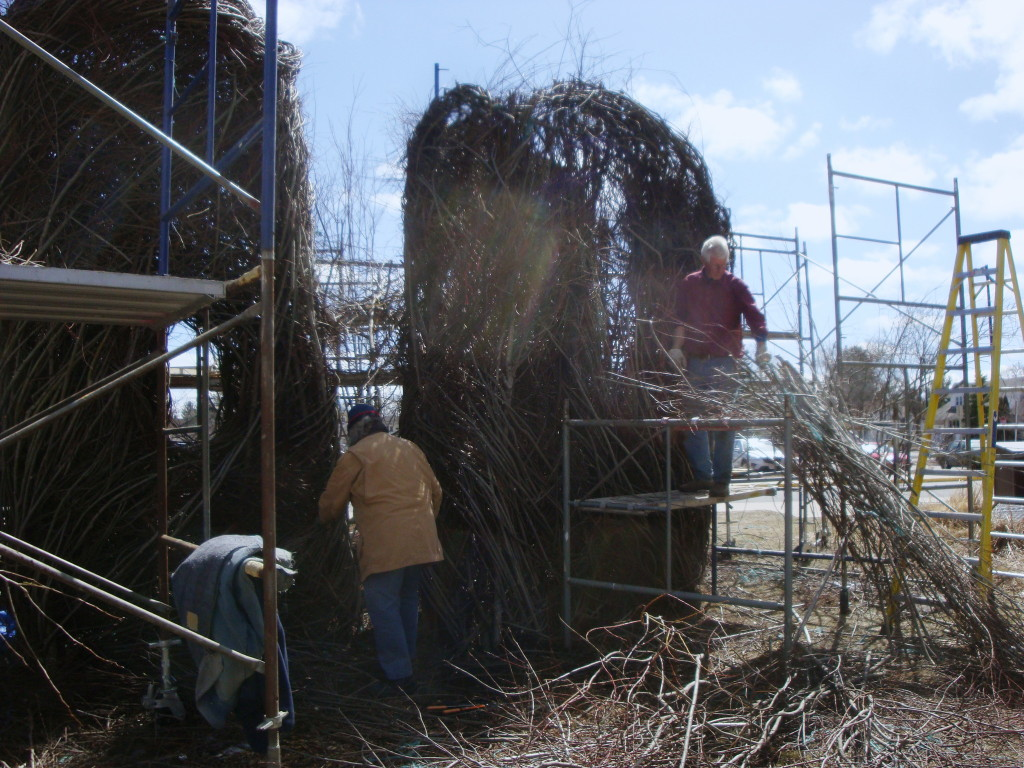 Work in progress on Patrick Dougherty installation at Stevens Point.