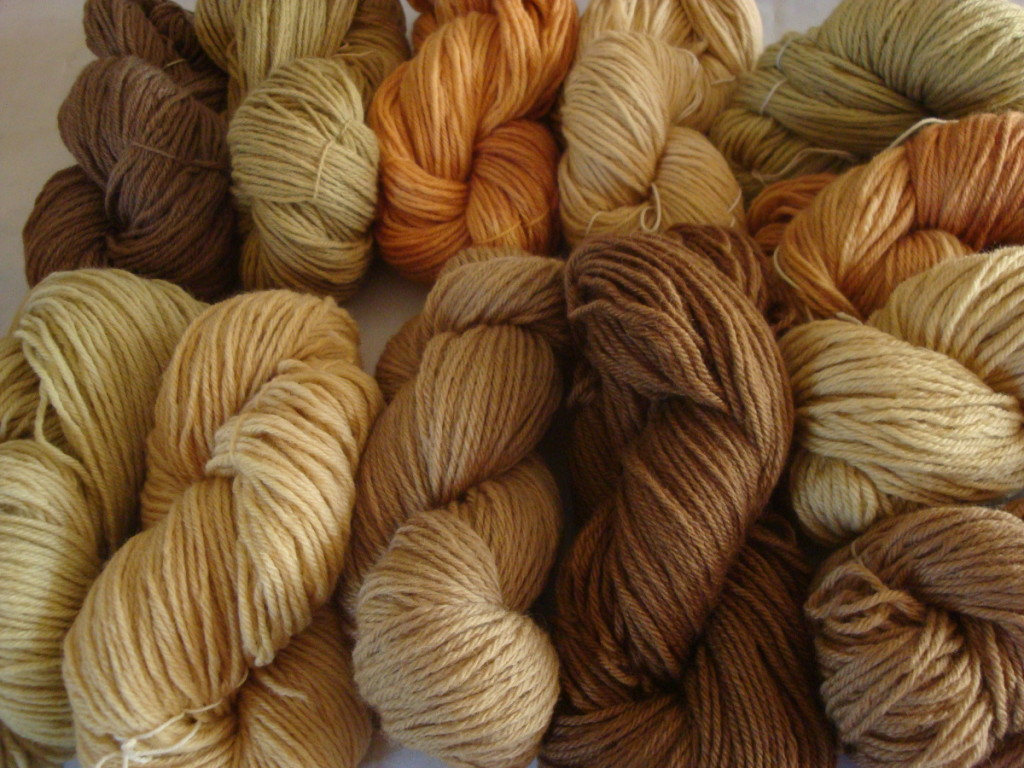 Naturally dyed wool yarn by Donna Kallner.