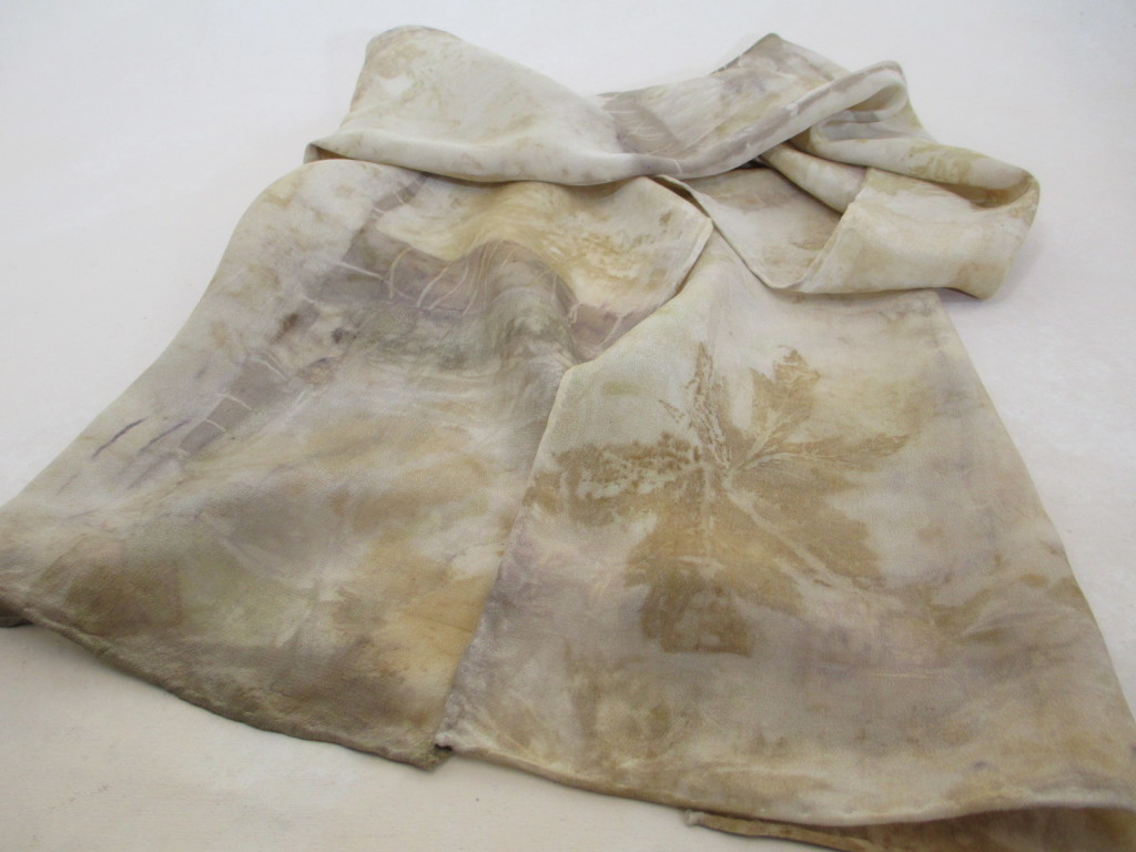 Eco-printed silk scarf by Donna Kallner.