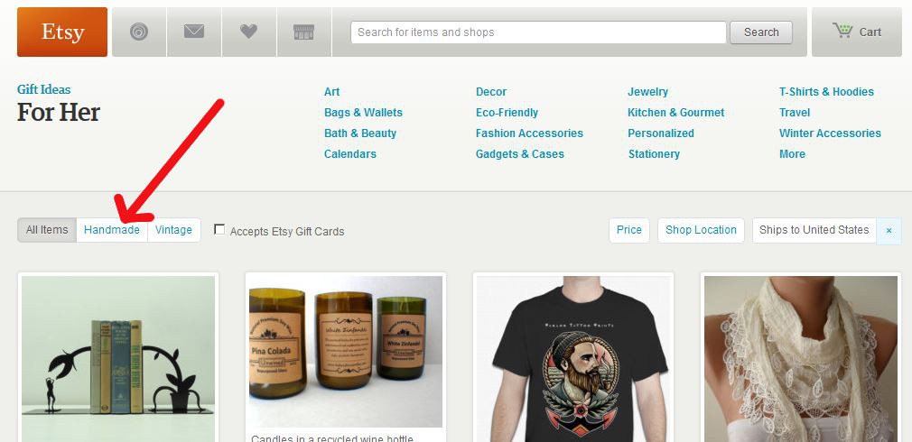 Use Etsy search effectively to find handmade gifts.