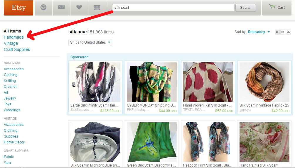 Use search effectively on Etsy.
