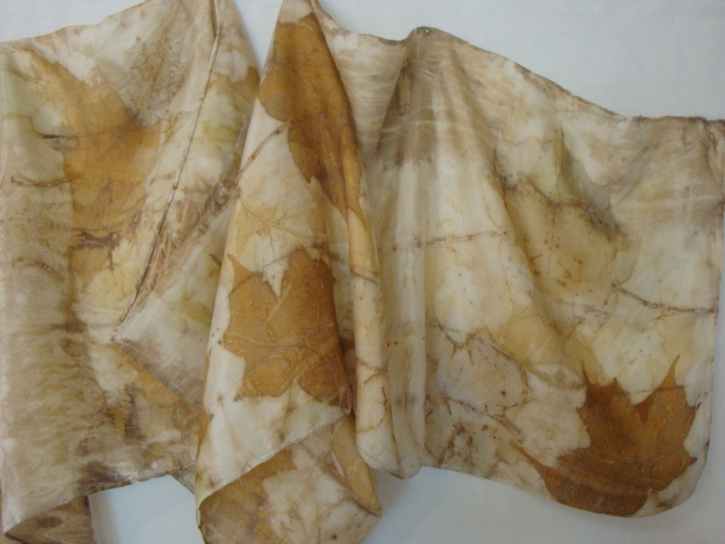 Plant-dyed scarf by Donna Kallner.