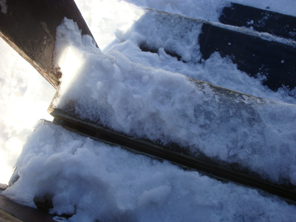 Icy steps to the porch.
