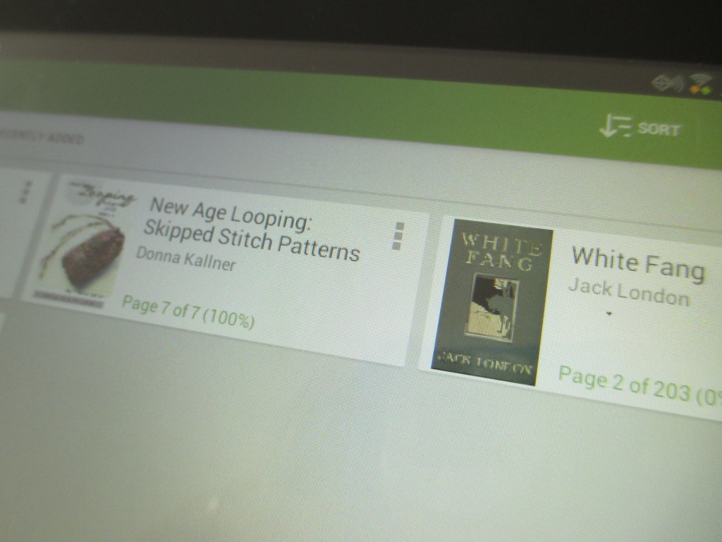 E-book on Galaxy tablet.