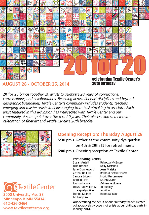 The 20 For 20 Show at the Textile Center.